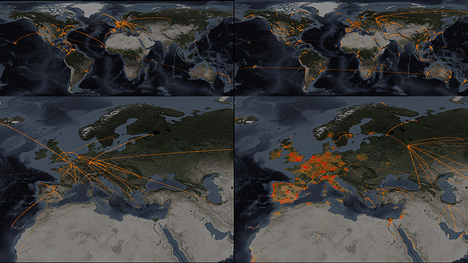 Sample of the side-by-side maps with the animated pandemic spread shown in the Epidemic Planet exhibit.