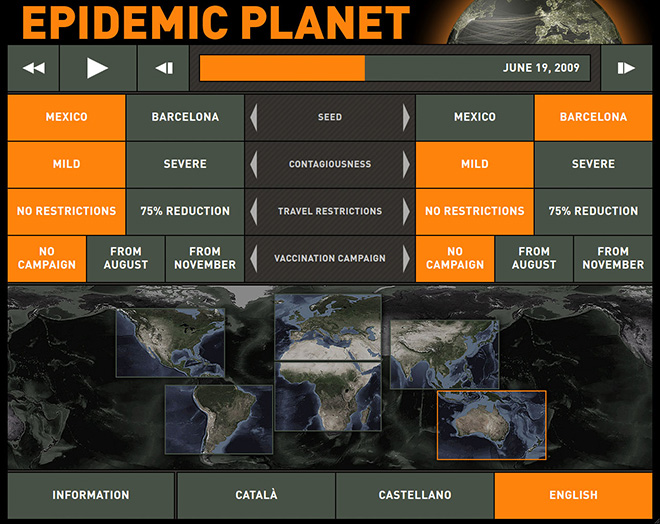 The touch-screen interface of the Epidemic Planet exhibit. The visitors can use this interface to select the epidemic scenarios to compare.