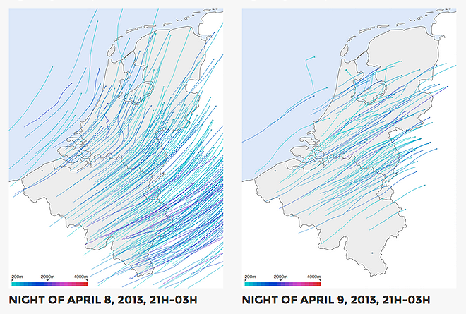 Two example visualisations of bird migration flowpaths over Belgium and The Netherlands.